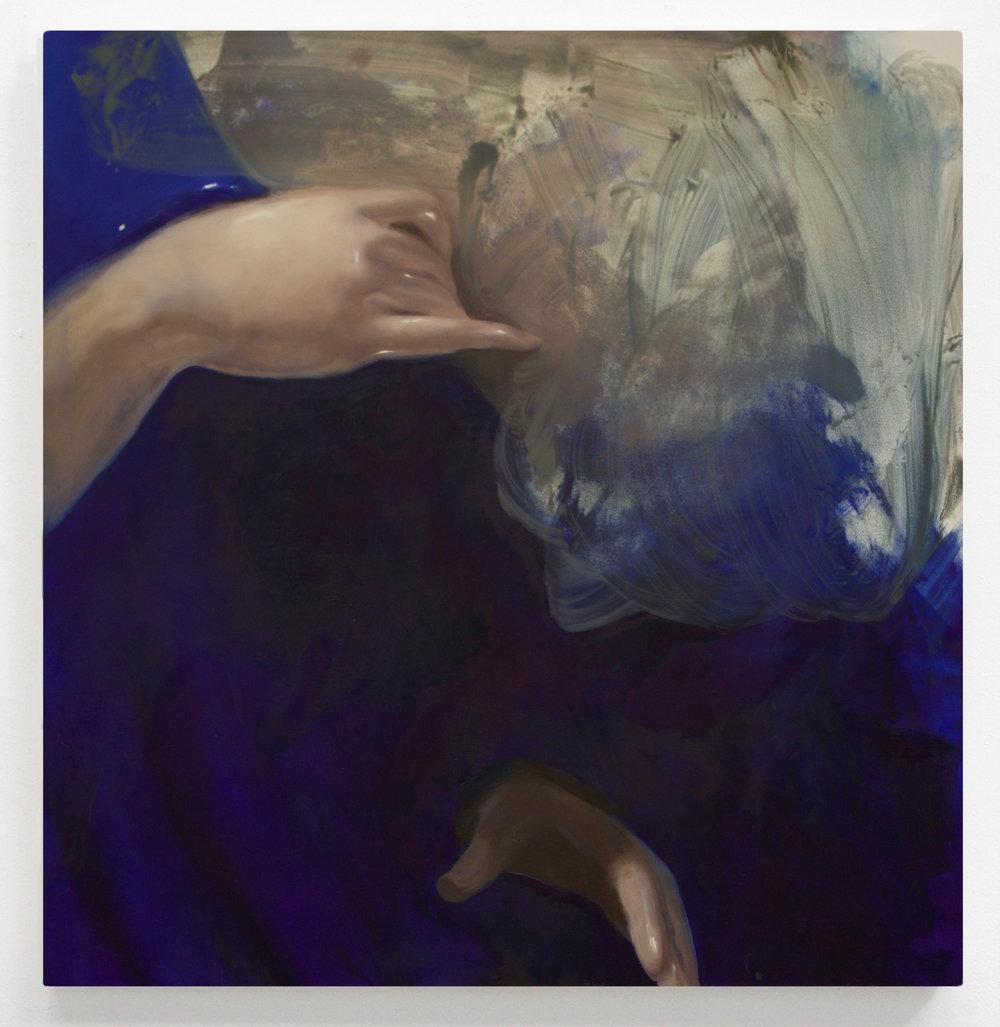 """held  28"""" x 27"""" Oil on Wood, 2016"""