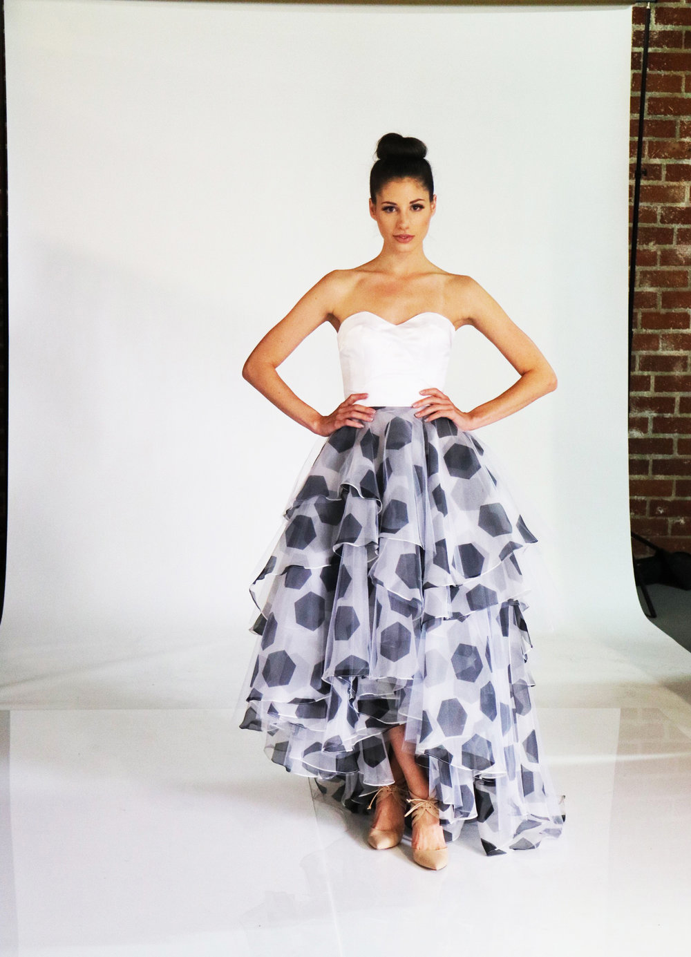 STRAPLESS SOCCER BALL PRINTED ORGANZA GOWN — LAURA VIVIENNE