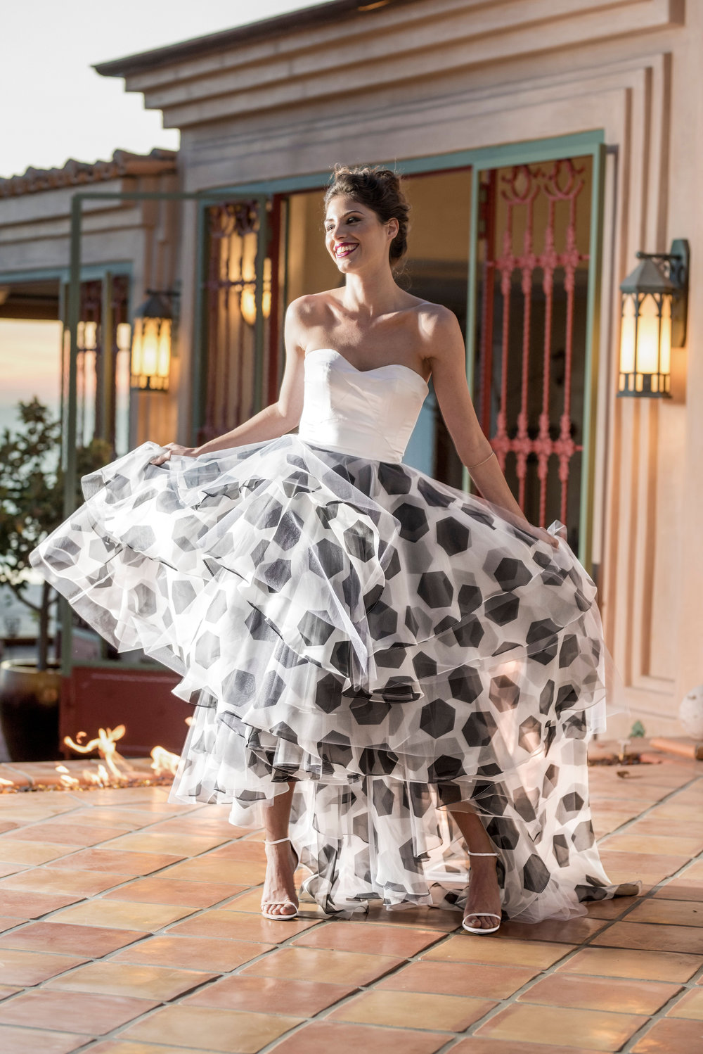 The Showstopper - Our first Laura Vivienne custom designed print!The Strapless Soccer Ball Printed Organza Gown is perfect for all your events, galas, parties and more…Visit shop dresses, to place your order today.