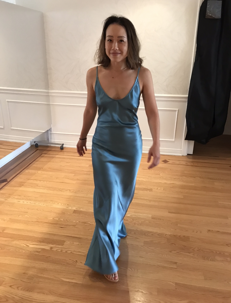 Our first custom Laura Vivienne! - A gorgeous shot of Melissa Ying Aguirre in her custom Crepe Back Satin Slip Dress. She wore this dress as the Maid of Honor on November 3rd, 2018 for her sister's wedding. We were honored to get to help create this moment and add to the magic of that beautiful day. XxFor inquiries on ordering custom designs, please email info@lauravivienne.com.