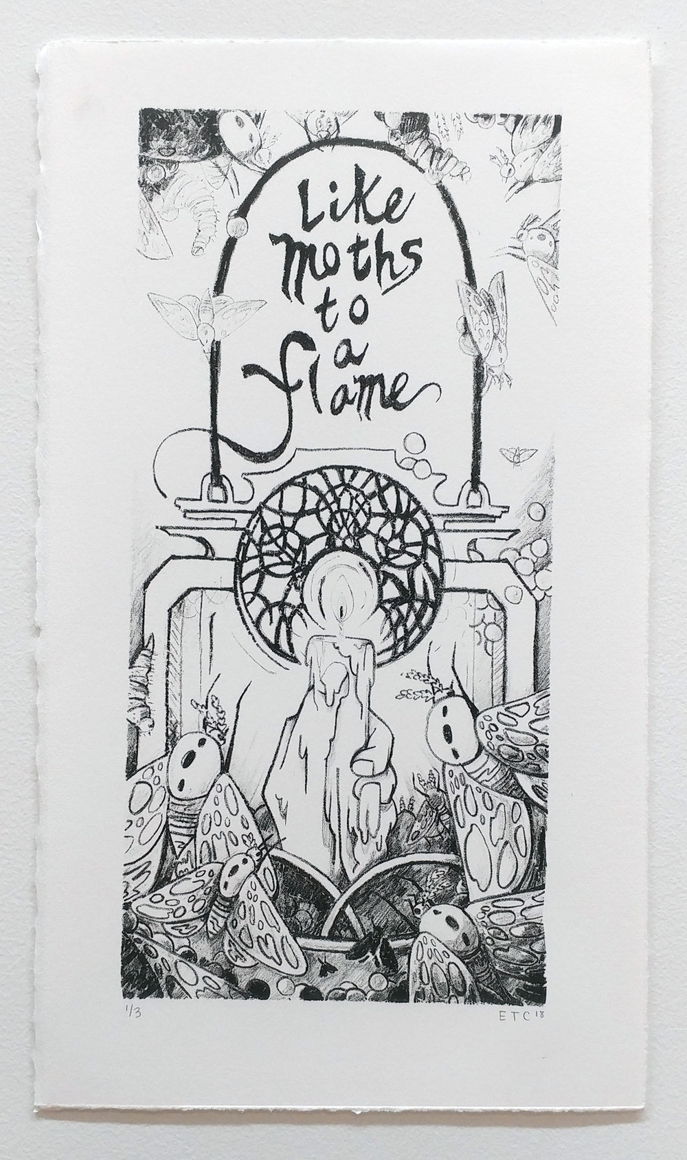 Like Moths to a Flame - Stone Lithograph Print