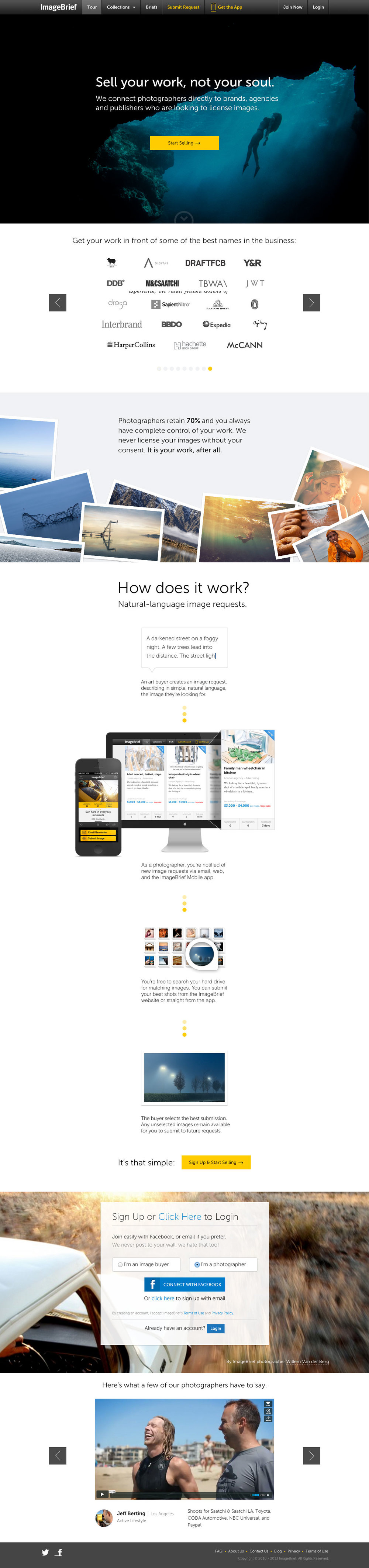 The Photographer Landing Page