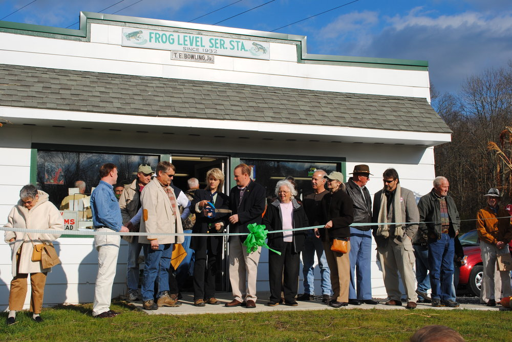 Preparing for the ribbon cutting ceremony at the Grand Re-opening, October 2011.