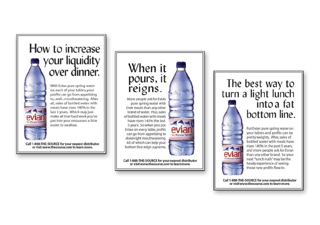 PACKAGED WATER TRADE PRINT CAMPAIGN
