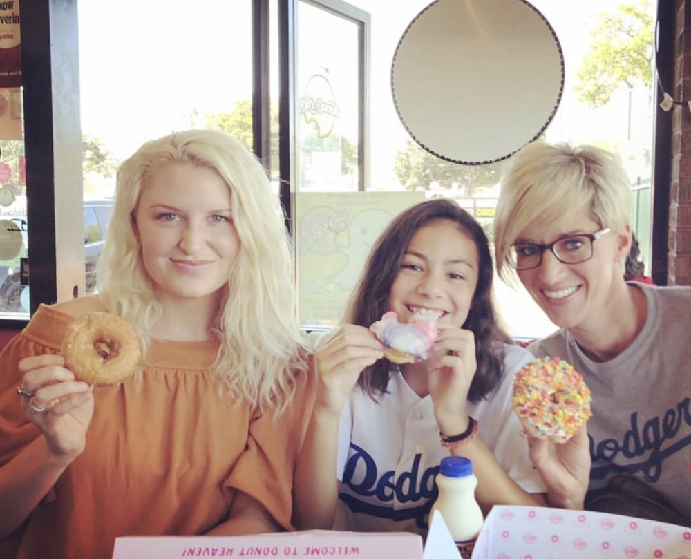 Enjoying the incredible donuts @ DK's Donuts in Santa Monica