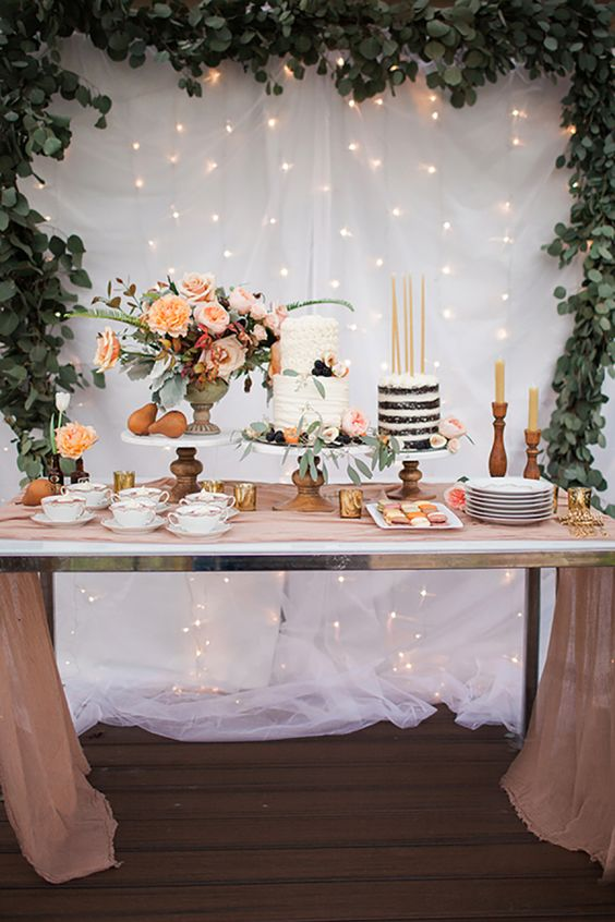 Pretty and elegant dessert table.