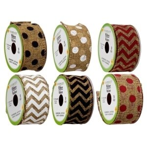 Courtesy of Dollar TreeFloral Garden Rustic Pattern Wired Burlap Ribbon