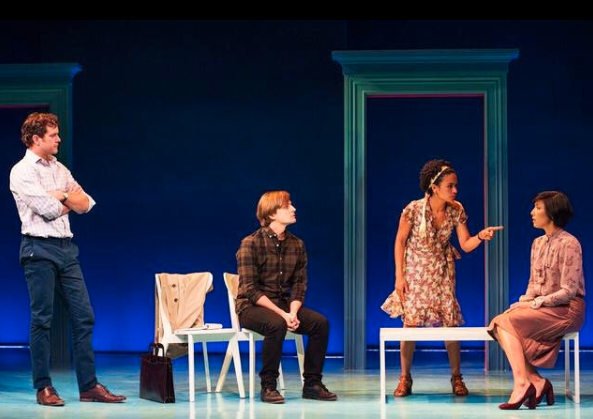 "Joshua Jackson, John McGinty, Lauren Ridloff, and Julee Cerda in ""Children of a Lesser God"" staged by Berkshire Theatre Group, Photo Credit: Matthew Murphy"