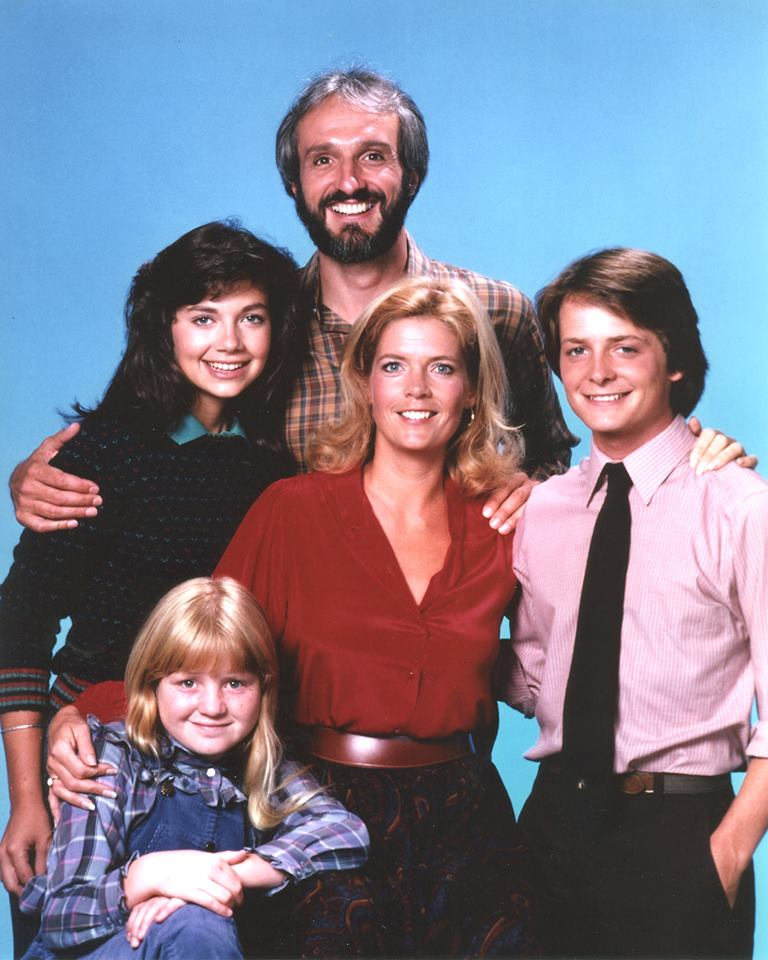 "The cast of ""Family Ties"", Michael Gross, Meredith Baxter, Michael J. Fox, Justine Bateman, and Tina Yothers"