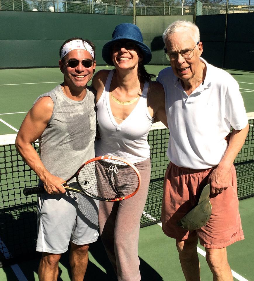 Cortés Alexander, Allison Janney, and Allison Janney's Dad playing tennis
