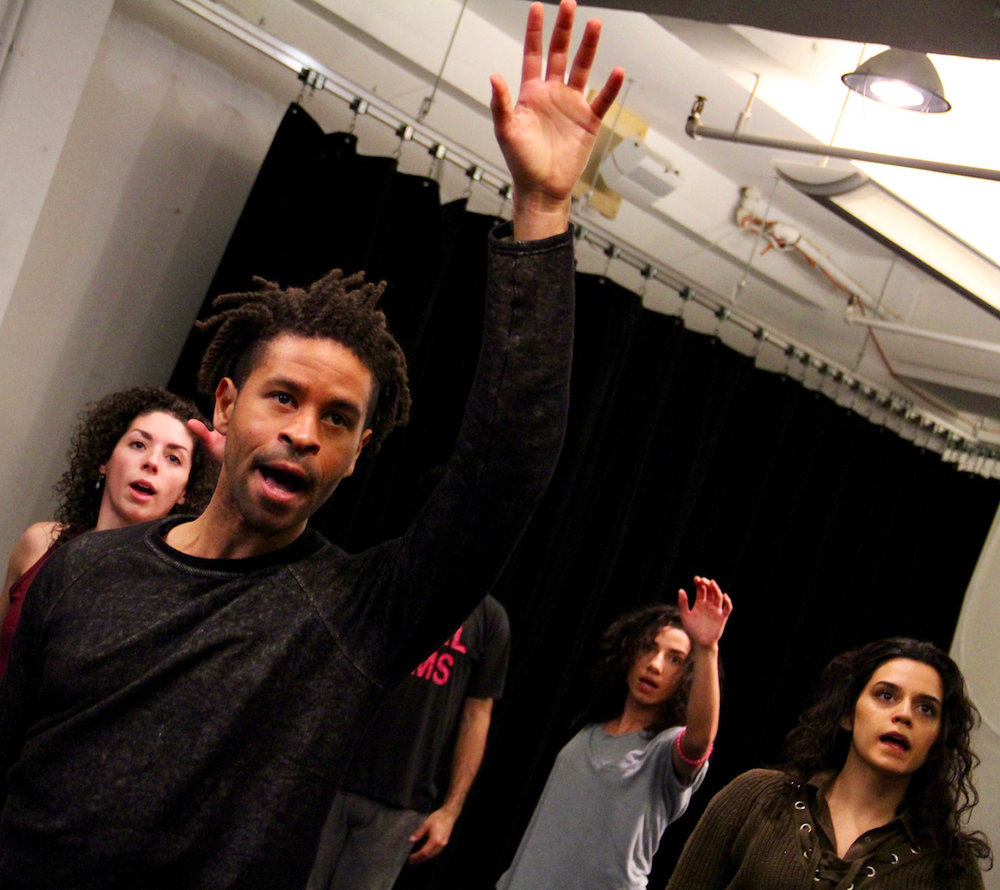 "Chad Goodridge - background L to R - G. Perez, L. Elwazani, S. Moafi, Choreography rehearsal for Prospect Theater Company's ""One Thousand Nights and One Day"", Photo Credit: Chris Milligan"
