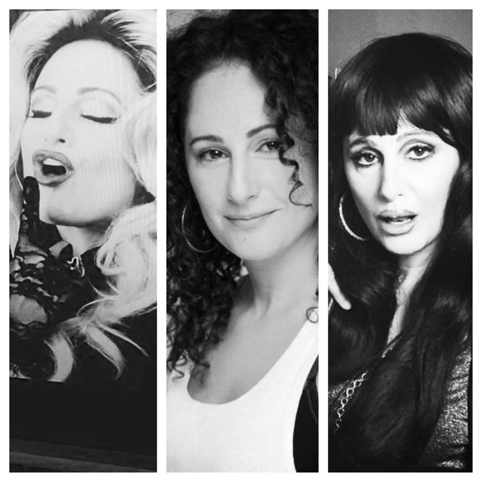 Nadya Ginsburg (center) as Madonna (left) and Cher (right), Madonna and Cher transformations credit: Pavros Esteban Olivarez AKA Pavy | Make-up/Hair artist, Nadya Ginsburg credit: by Ira Ginsburg and Carla Candiotti