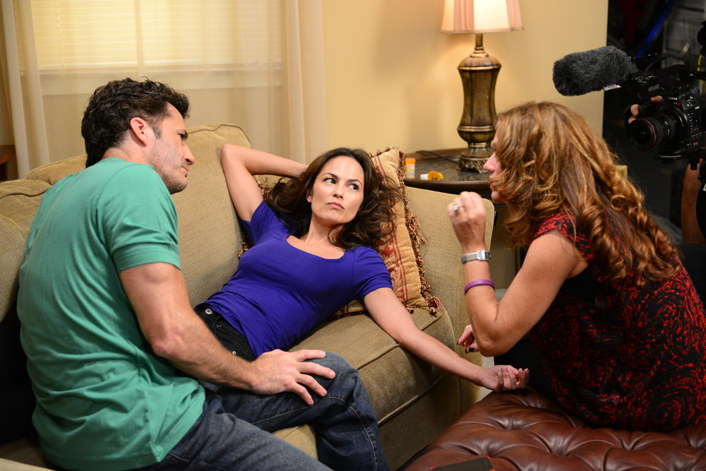 "Michael Lowry, Terri Ivens, and Sonia Blangiardo on the set of ""Tainted Dreams"""