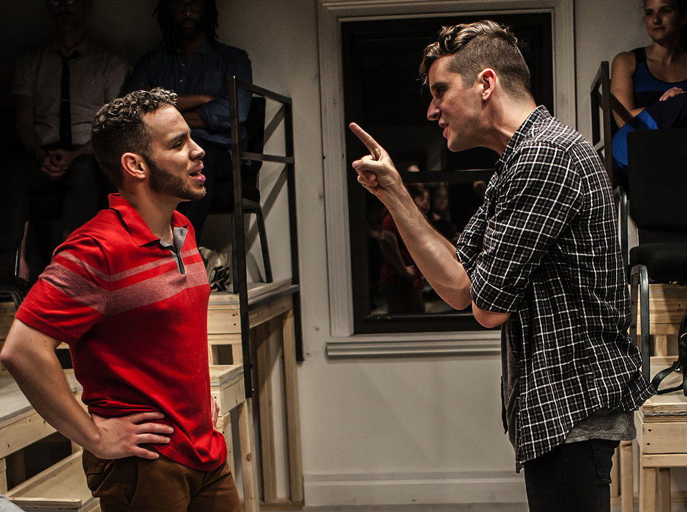 "Robin De Jesús and Michael Urie in ""Homos or Everyone in America"", Photo Credit: Monique Carboni"