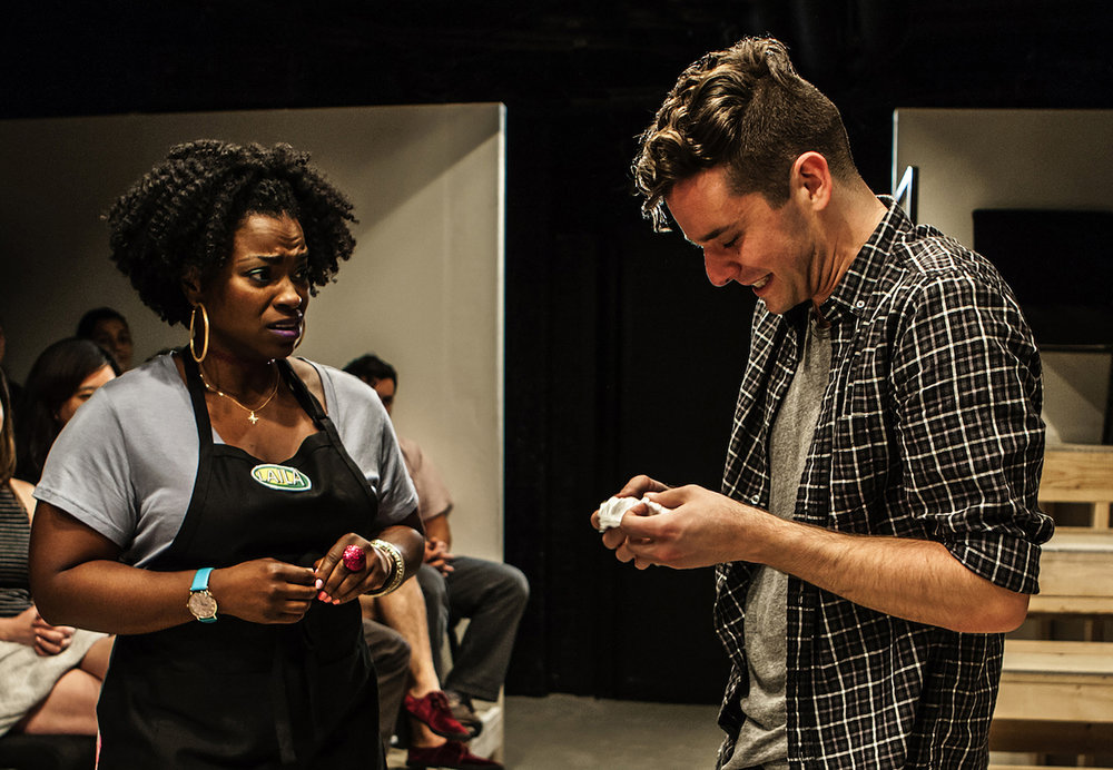 "Stacey Sargeant and Michael Urie in ""Homos or Everyone in America"", Photo Credit: Monique Carboni"