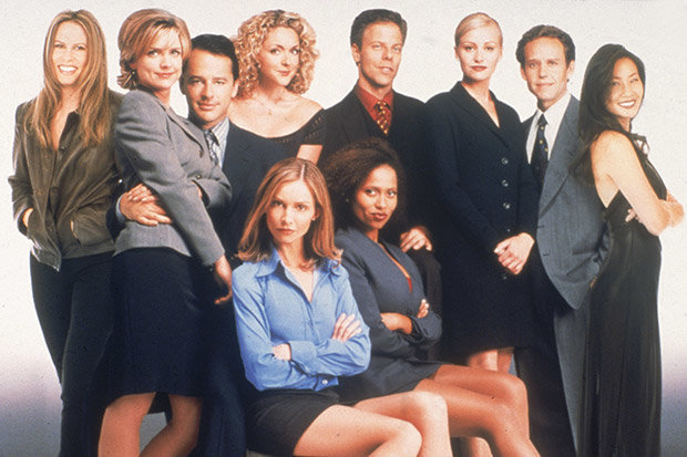"Vonda Shepard and the cast of ""Ally McBeal"""
