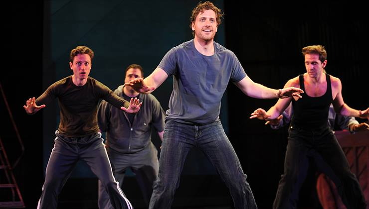 "Kevin Massey, Matt Dewberry, Andy Kelso and Dan DeLuca in ""The Full Monty"" at Pittsburgh CLO"