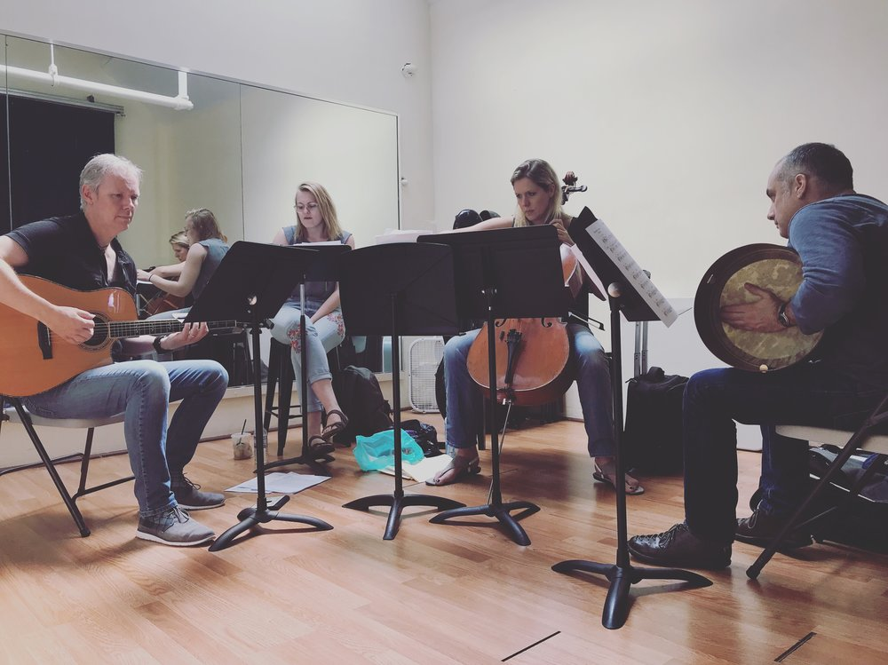 "Mairi Dorman-Phaneuf (cello)and her band rehearsing ""Climbing Up Hill"",Steve Gibb, guitar, Kerstin Anderson, vocals, Ben Power, bodhran"