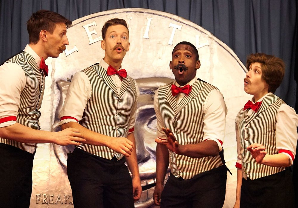 "Teddy Yudain, Jonothon Lyons, Jelani Remy, Amanda Ryan Paige in ""The Apple Boys"", Photo Credit: Steven Menendez"