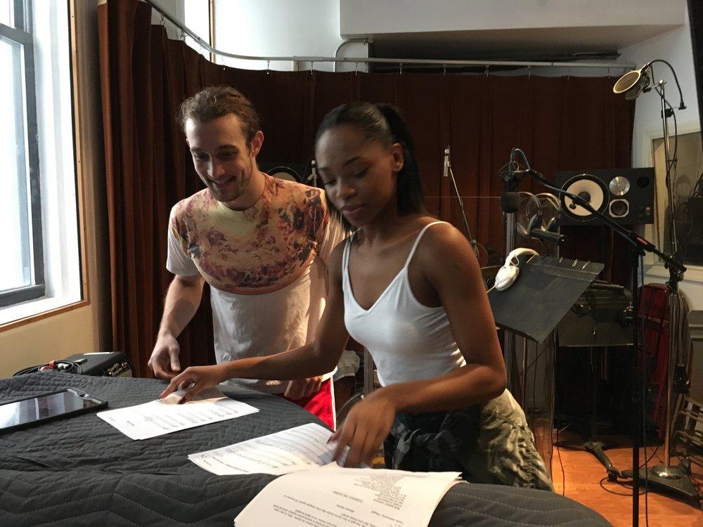 """Conor Ryan and Hailey Kilgore recording Episode 1 of """"Loveville High"""""""