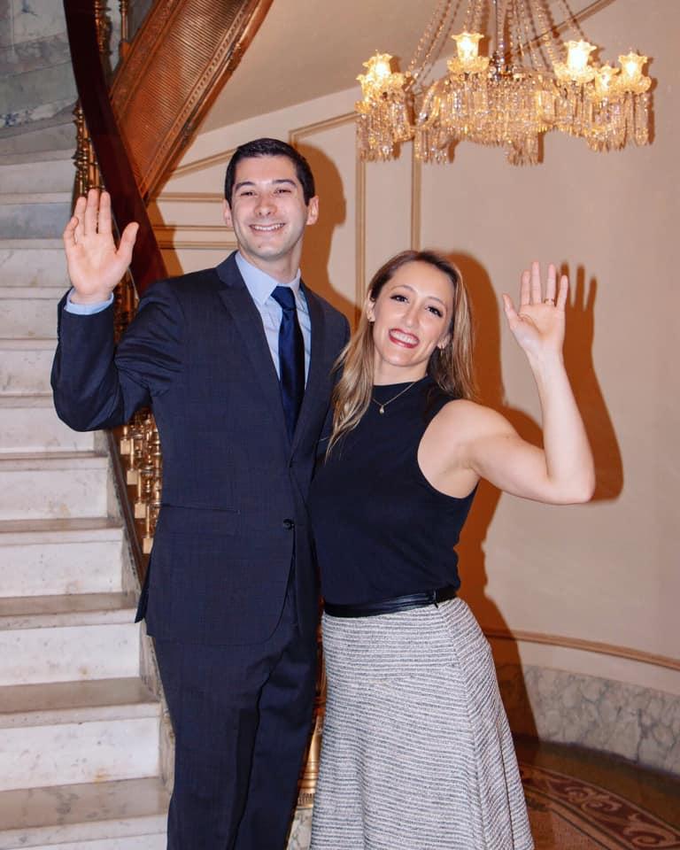 Jake Weinstein and Sarah Naughton as Jared Kushner and Ivanka Trump, Photo Credit: Ryan Brinkmann