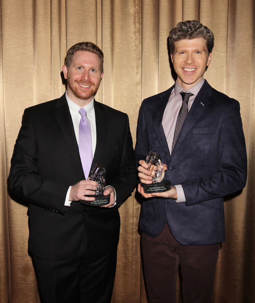 Eric Price and Will Reynolds receiving the 2018 Fred Ebb Award