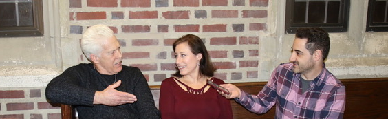 """Doc Dougherty (""""Mike""""), Laura Fois (""""Roma""""), & Adam Rothenberg (Call Me Adam) at Up Theater interviewing about """"St. Peter's Foot"""", Photo Credit: Sam Mattingly"""
