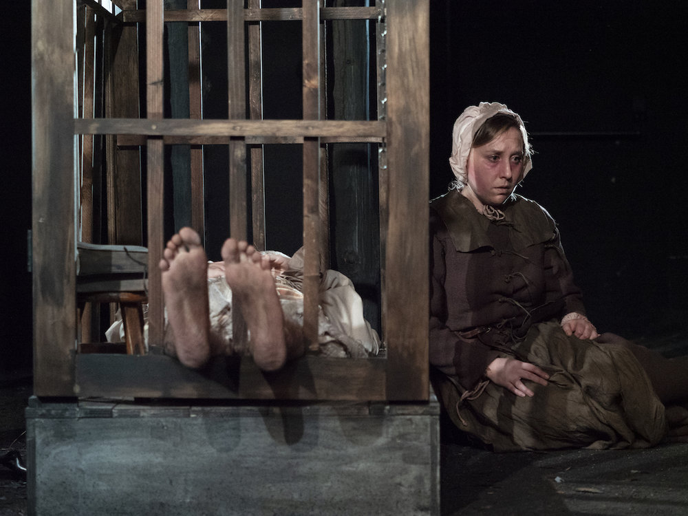 """Phil Gillen and Emily Kratter in """"Strangers in the World"""" at Axis Theatre, Photo Credit: Pavel Antonov"""