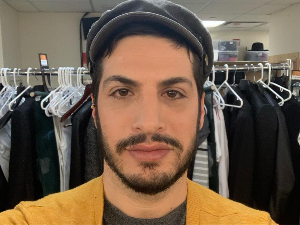 "Michael Einav backstage at ""Fiddler on the Roof in Yiddish"""