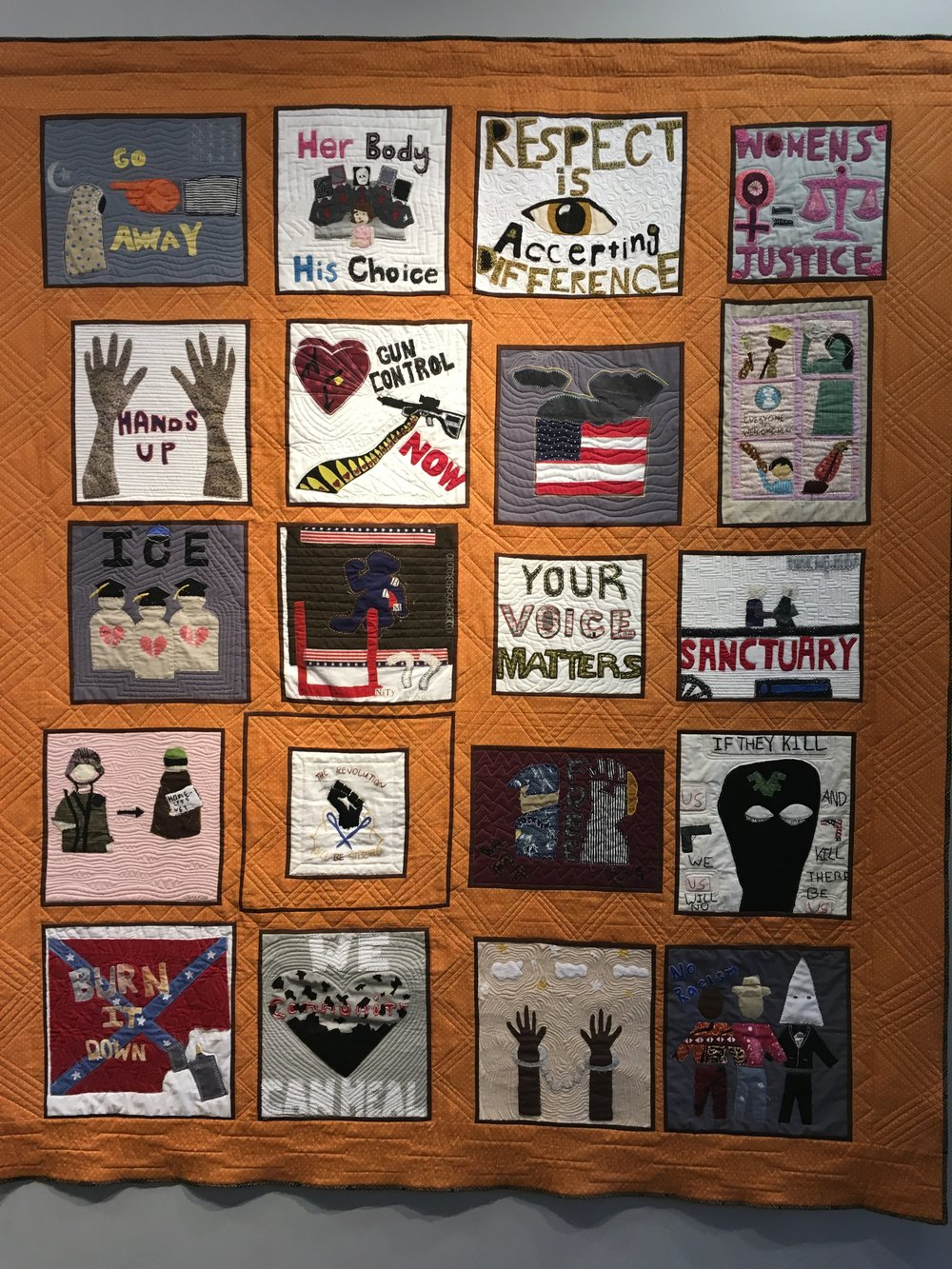 Woke Voices: Community Quilt by Youth at SJSA Workshops in Boston, Baltimore, and the Bay Area. Image: Namita Paul  In addition, there was some amazing work by  Social Justice Sewing Academy  workshops for high school and college students. Calls for gun control, women's rights, immigration justice, and fighting racism reverberate through the quilts on display.