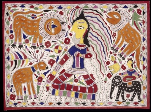 A holy man in the forest (Shiva as Lord of the Animals), 1981, by Jogmaya Devi (Indian). Ink and colors on paper. Courtesy of Asian Art Museum of San Francisco, Museum purchase, 1999.39.39. © Jogmaya Devi. Photograph © Asian Art Museum of San Francisco.    Source:  http://education.asianart.org/explore-resources/lesson-or-activity/academic-decathlon-2015–16-india