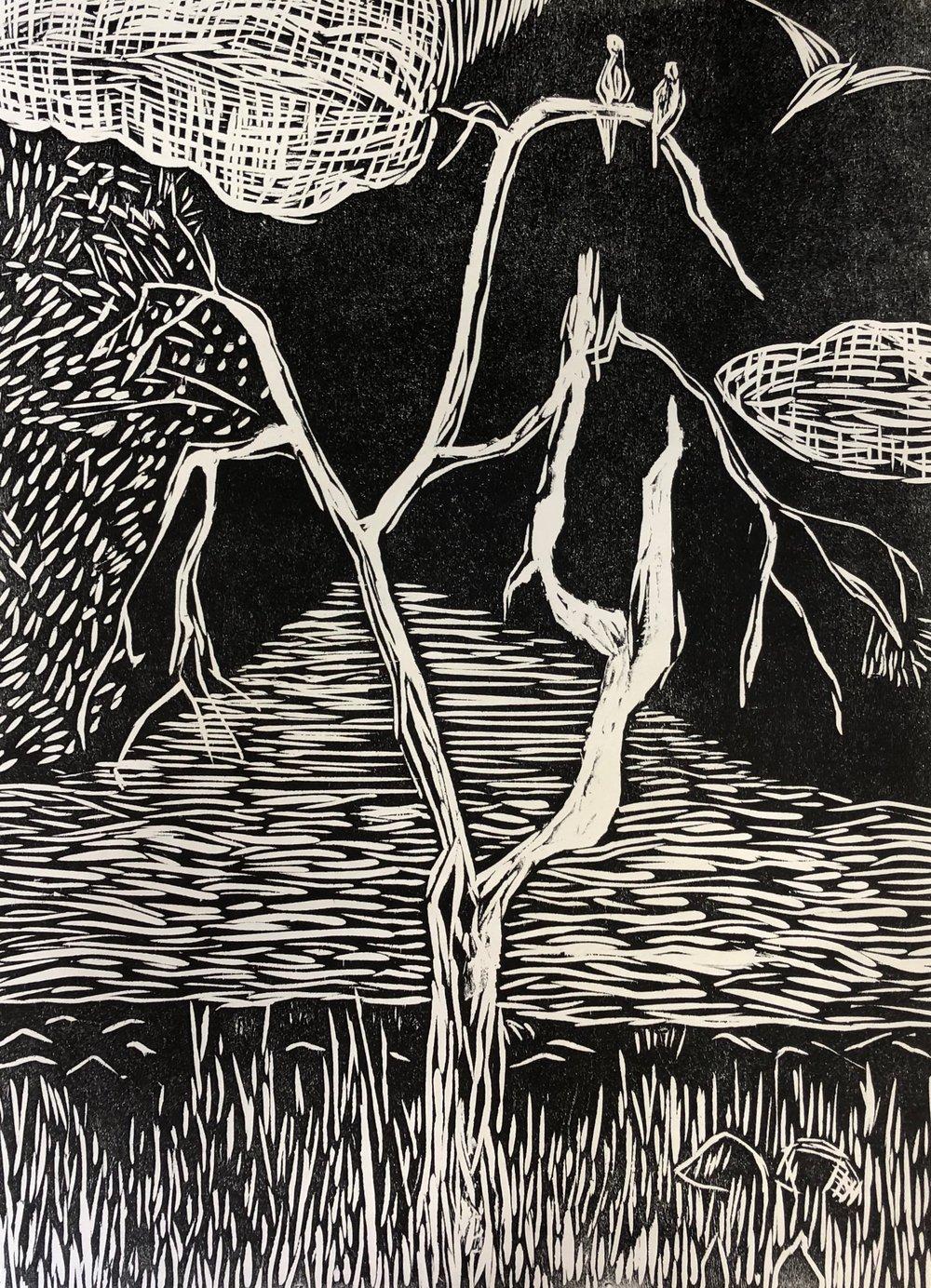 Woodcut Print - Redwood Shores