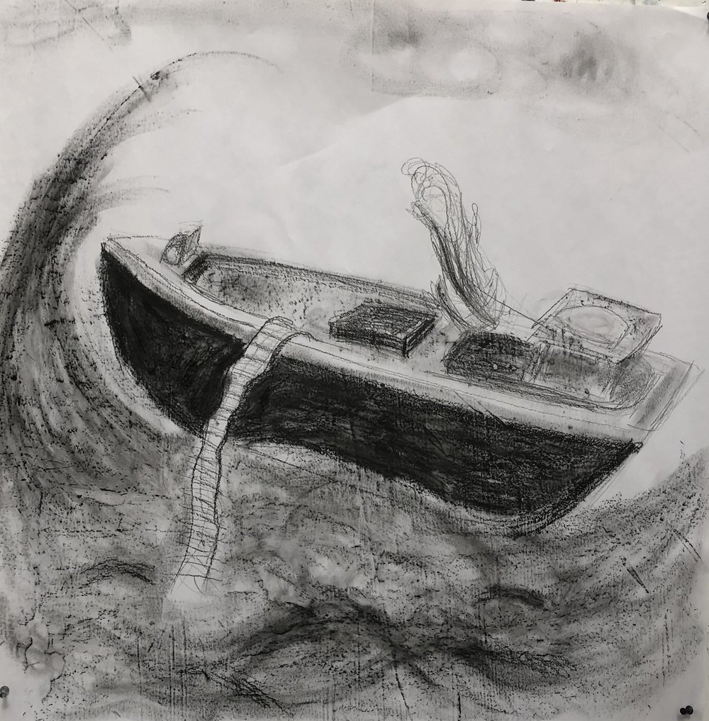 'Stormy Weather' charcoal, graphite and ink drawing  by Namita Paul.jpg