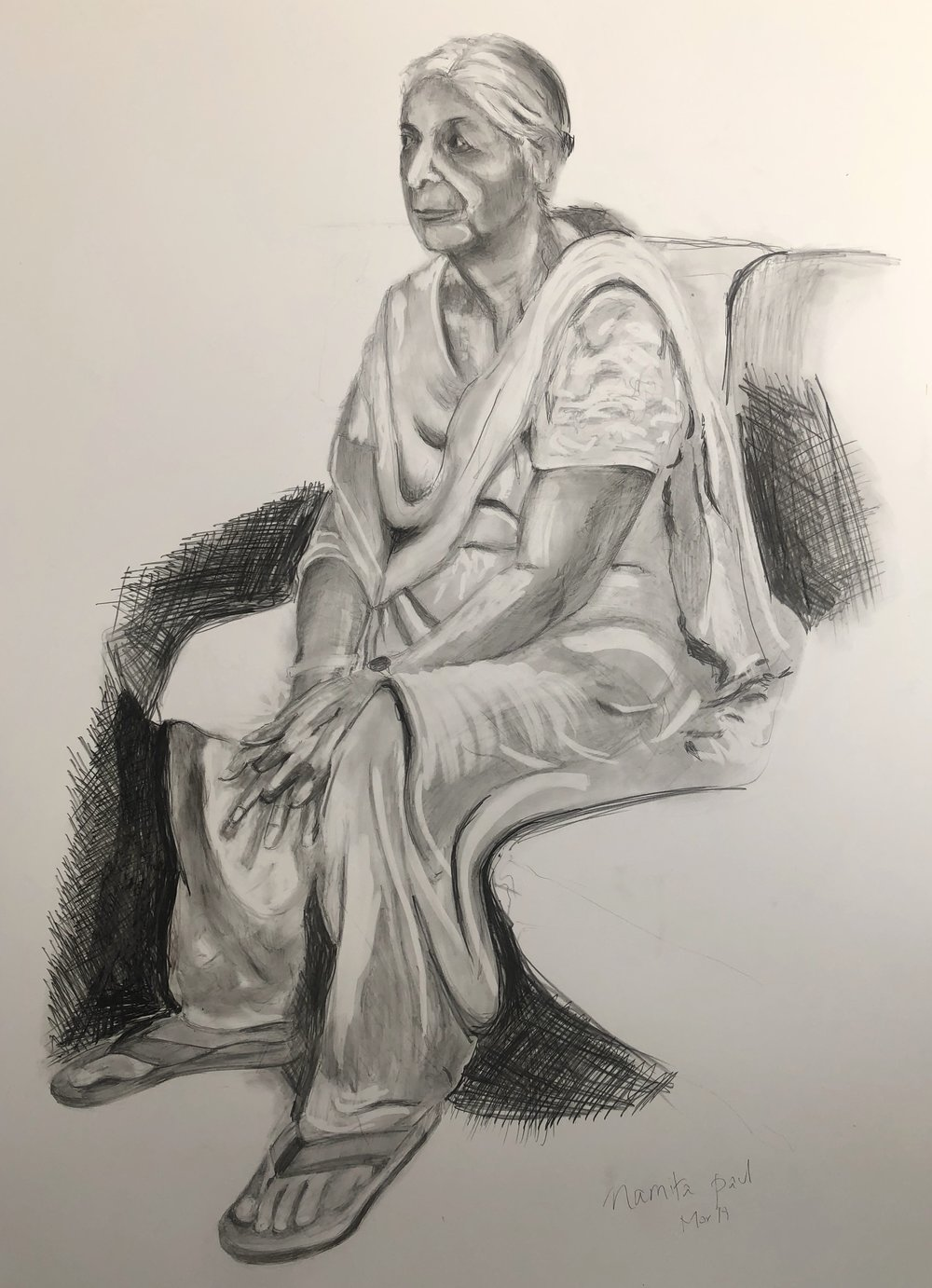 Blameless Lives Series I 40%22X20%22 pencil and charcoal on paper by Namita Paul.JPG