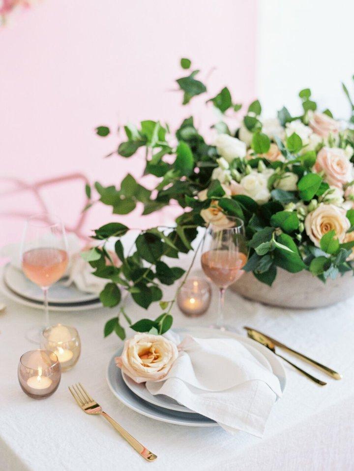 Muted pink wedding inspiration - blush pink place setting