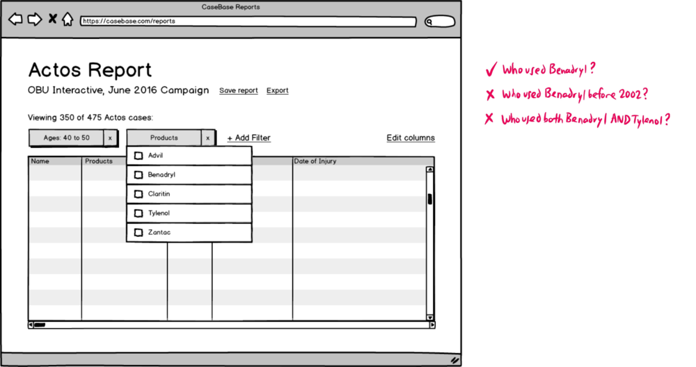 Wireframe of the old Reports View.