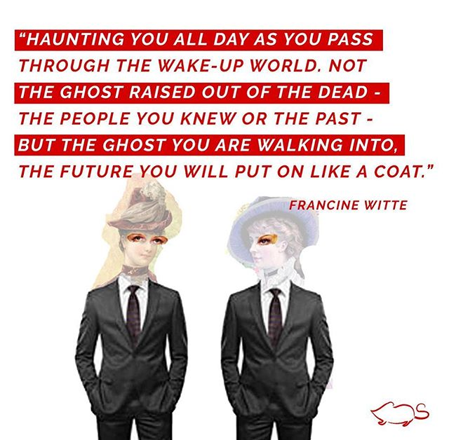 Reverse Ghost By Francine Witte  Art by @misscheff ——————————————————— haunting you all day as you pass through the wake-up world.  Not the ghost raised out of the dead – the people you knew or the past – but the ghost you are walking into,  the future you will put on like a coat. Reverse Ghost sticks around, teasing you with what might happen, making you think you can actually know.  Always tugging at your sleeve, saying look! I have something to show you.  When, in fact,  there is nothing to see.  You try to be patient. You try to explain that you'll get to your future soon enough, but you'd like to live your life right now.  He is almost as stubborn as ghosts from your past, the ones that still show up sometimes in your dreams.  Your long-ago husband shoving you off a mountaintop,  your mother still knowing your name.  By morning,  they escape, rise up out of your body, the way one day, your own self will, the only real moment that Reverse Ghost can honestly guarantee. ——————————————————— #poetry #poems #writersofinstagram #art #artist #collage #artistsoninstagram #writing #poem