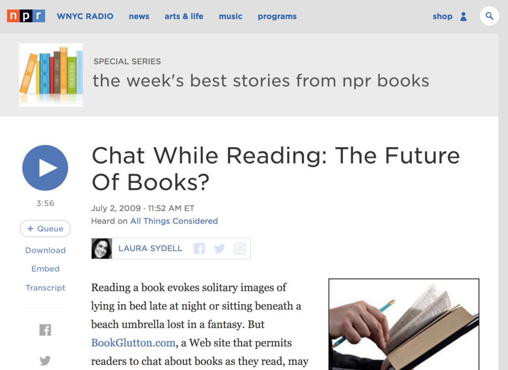 NPR interview on BookGlutton reading startup