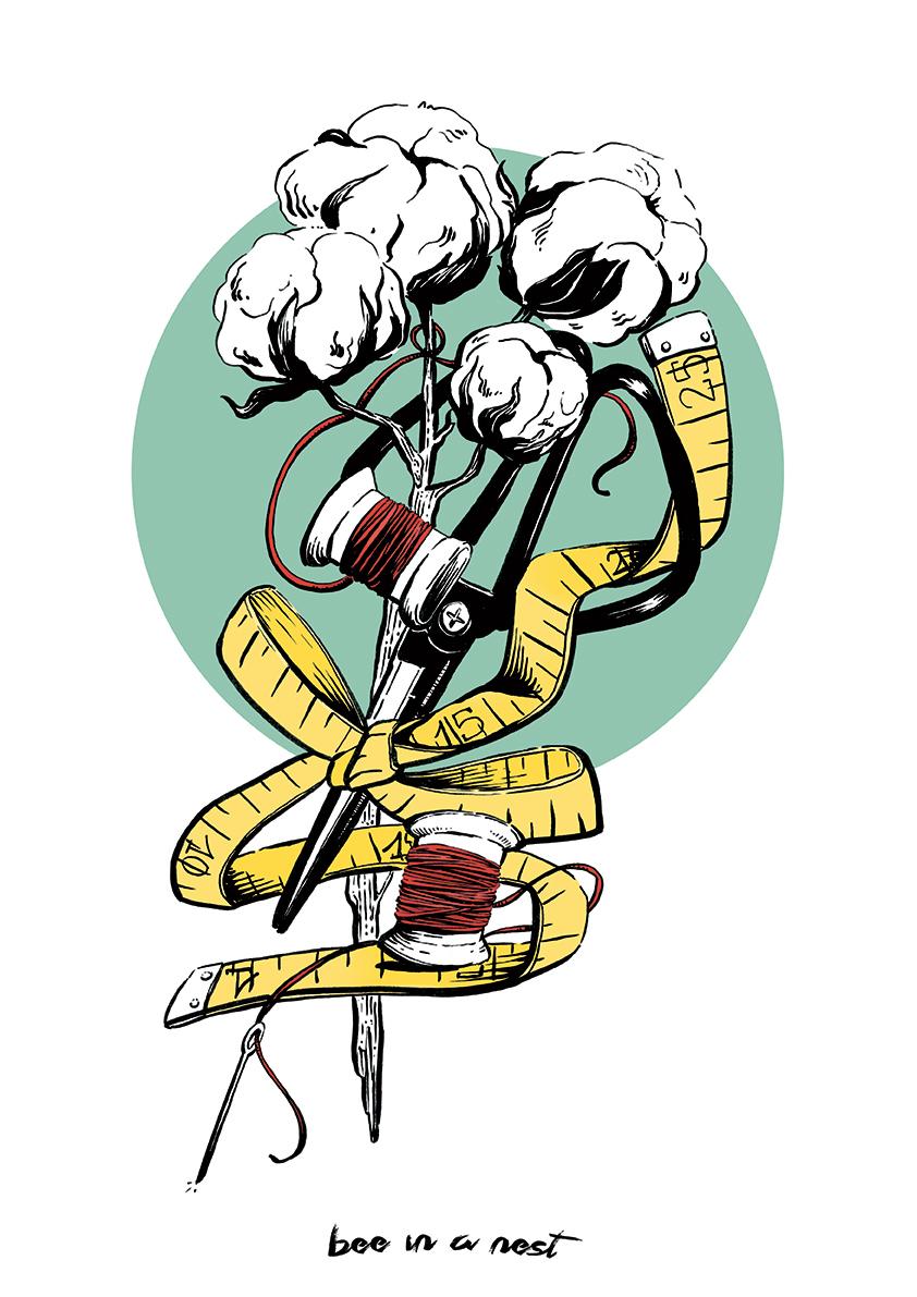 La pianta di cotone simboleggia bellezza, generosità e semplicità, il bianco candido del fiore è augurio di novità e buon inizio - Questa illustrazione vuole omaggiare le arti della creatività manuale che da materiali grezzi arrivano ad elaborare creazioni uniche.