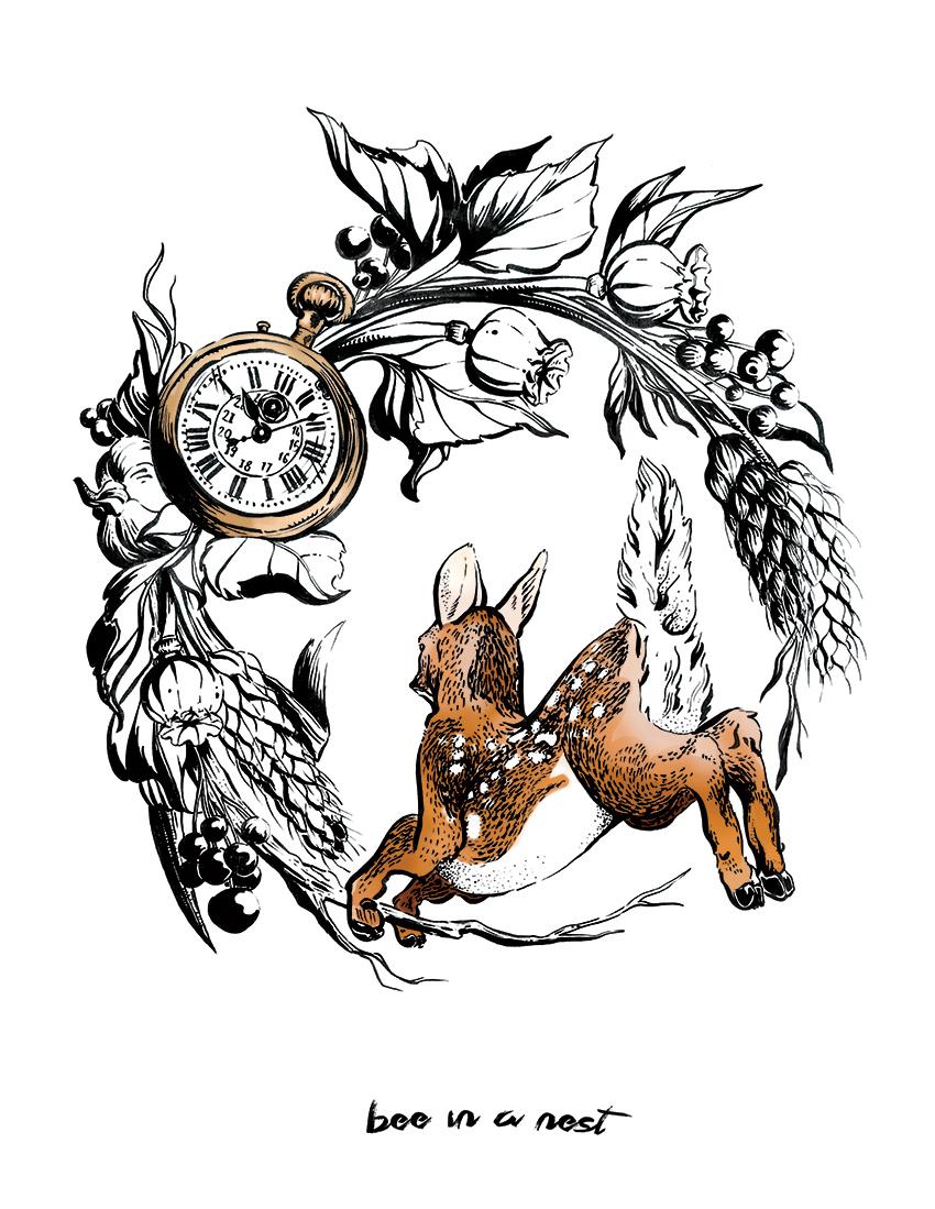 Si puòscappare dal tempo che passa o ci si puòfermare per potersi godere i cambiamenti in noi - Un cerbiatto simbolo di fanciullezza che scappa dal futuro e dal tempo che passa, dai colori che diventano dorati ma anche dalla conoscenza che ci da serenità.