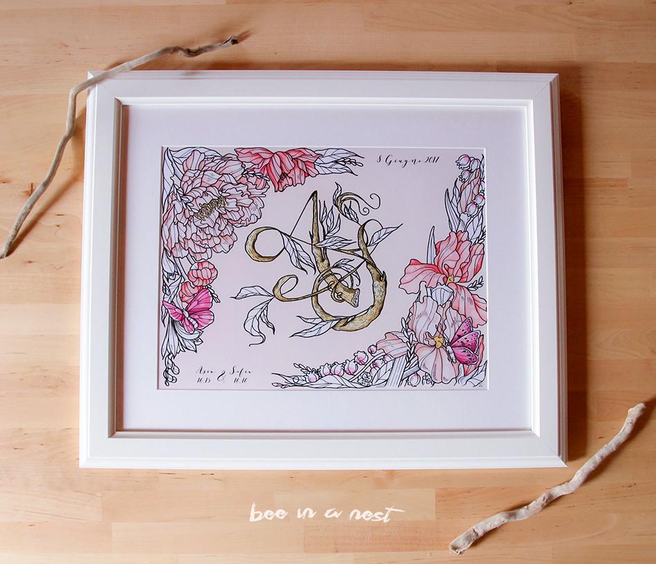 Un regalo pieno di tenerezza tra migliori amiche per celebrare la nascita di due splendide bimbe Asia e Sofia - La peonia come fiore simbolo dell'Asia che nel linguaggio dei fiori si traduce letteralmente