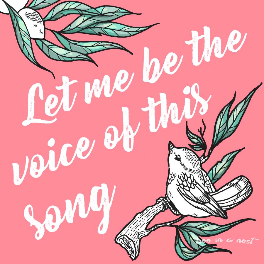 La primavera nell'aria ci fa cantare e sospirare - Un semplice concetto per stampa su tessuto o cartoleria