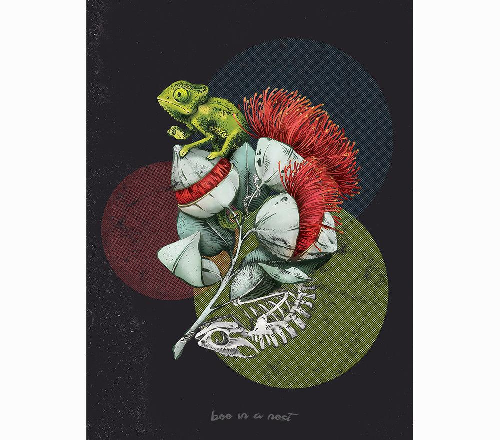 Questa illustrazione simboleggia la forza nascosta. - Il camaleonte considerato come messaggero degli dei è una creatura che collega il mondo dell'aldilà con il nostro. In alcune leggende viene addirittura considerato l'artefice della vita stessa sulla terra grazie ai suoi incredibili poteri celati.