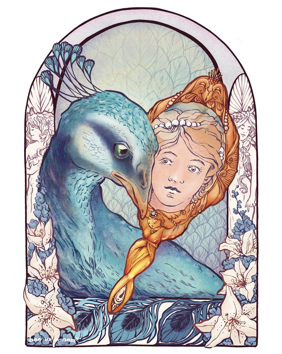 """Tra fiaba e decorazione. - Ispirata dal grande illustratore Edmund Dulac e i preziosi decori della Belle Époque, nasce questa """"finestra"""" parte di un dittico composto da un pavone e un cigno."""