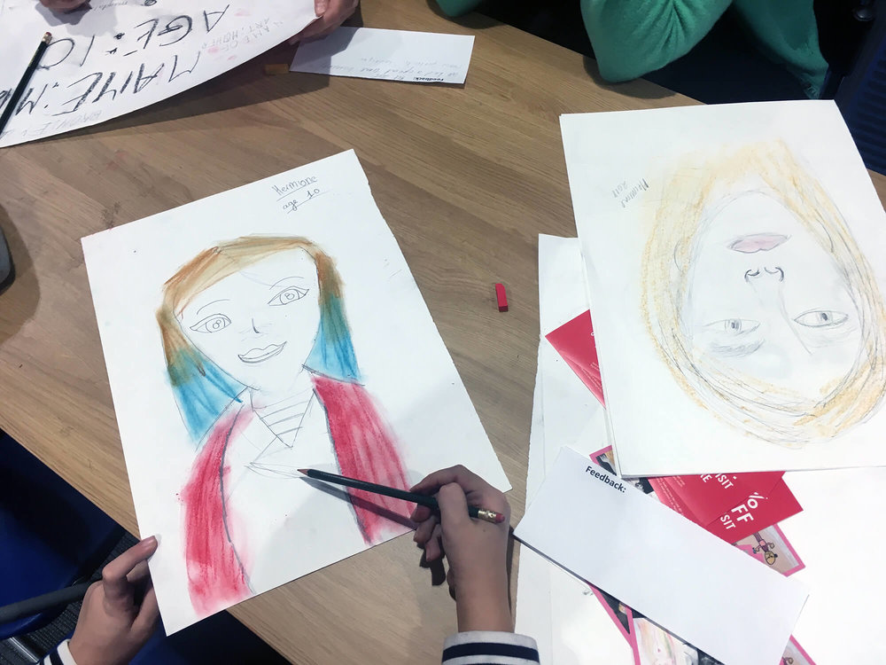 Works by Hermione and Lisa at 'I can do your portrait' - Penge Library - Oct. 2018