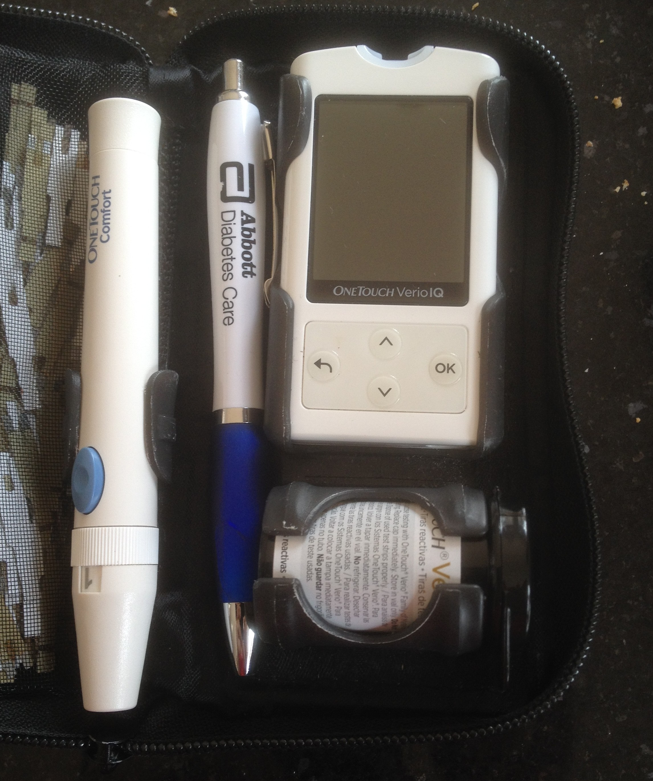 Pen stored inside Blood Glucose meter case. Photo credit Blood Sugar Trampoline