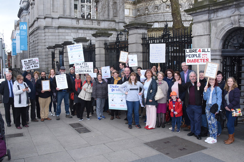 Members of the Diabetes in Ireland Facebook group attending the Libre4All Petition Presentation on 19th April 2018 Photo taken by David Coleman. Copyright.
