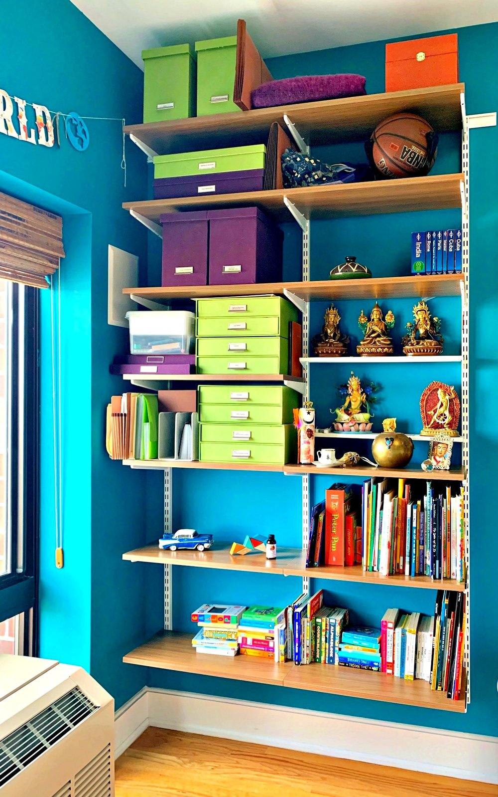 Above:   Shelves ,  File Boxes ,  Punkin Butt Teething Oil (Total Magic) ,  Books