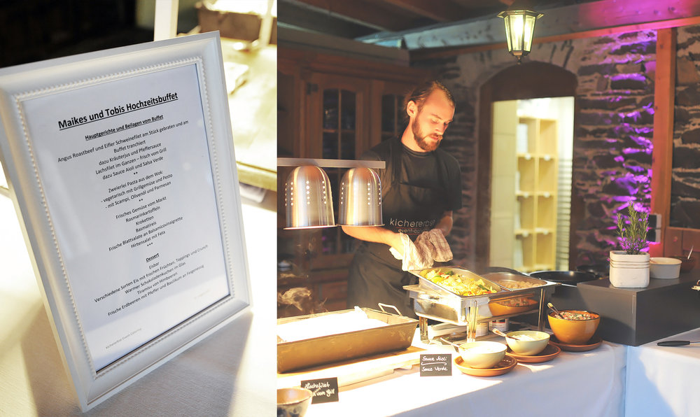 Hochzeit von Maike + Tobias - Das Team von Kichererbse liefert Euch für eure Hochzeit als Event-Caterer für die Burg Pyrmont ein ausgezeichnetes und vielfältiges Essensangebot passend zu euren Ansprüchen und hilft Euch mit Organisationstalent, Personal und Equipment auch gerne bei der Ausrichtung der gesamten Feier.