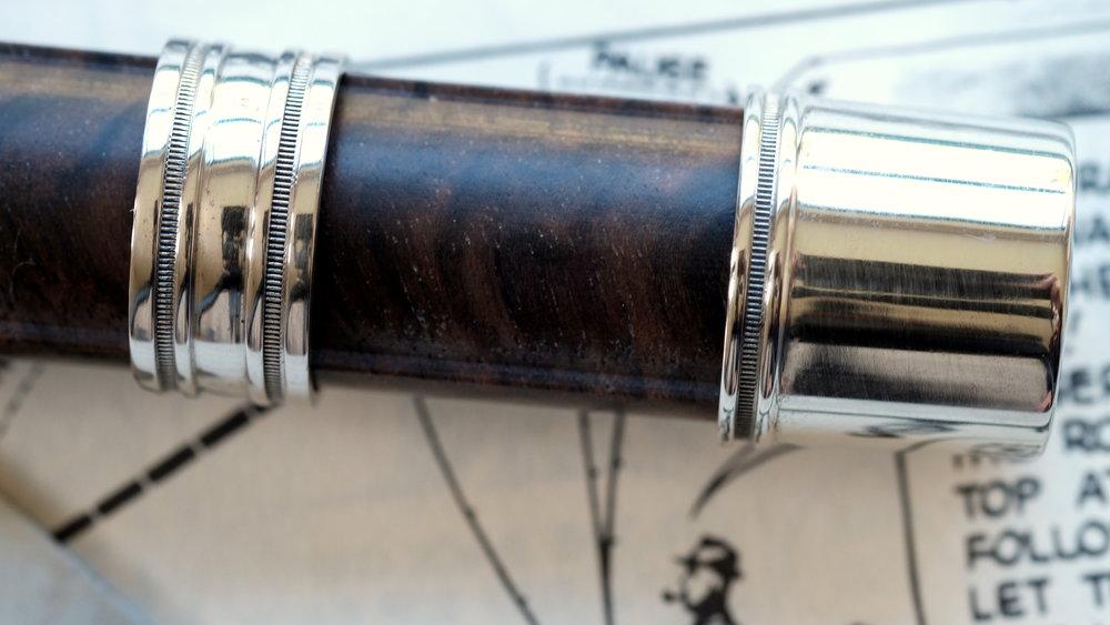 Nickel Silver cap &ring - on walnut